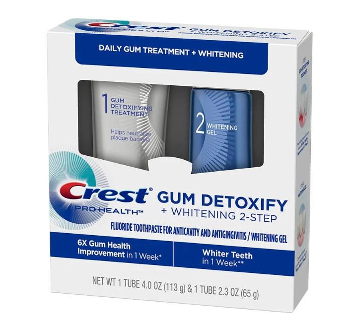 Bieliaci gél na zuby a zubná pasta Crest GUM DETOXIFY + WHITENING