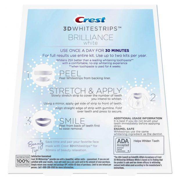 Bieliace pásiky na zuby Crest Brilliance white návod na použitie
