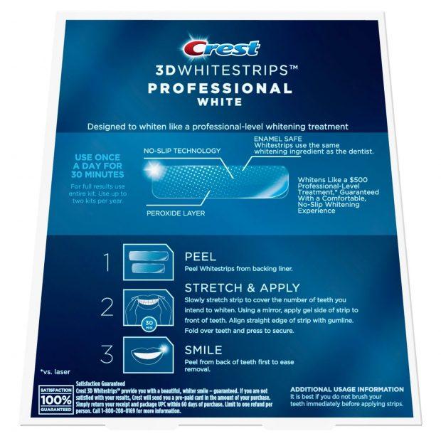 Bieliace pásiky Crest professional white návod na použitie
