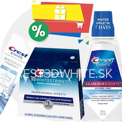Balíček Crest bieliace pásiky Professional pasta Enamel Care ústna voda Glamorous